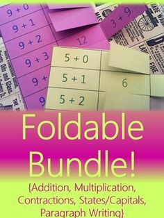 This GROWING foldable bundle currently includes 5 foldables to use with interactive student notebooks (ISNs) or as alternatives to flashcards. These foldables support students in ELA, Math, and Social Studies skills!  Includes: Addition Foldables, Contraction Foldables, Making Plural Words Foldables, Multiplication Foldables, Scaffolded Paragraph Writing {Natural Disasters Theme}, States, Capitals, & Abbreviations Foldables #teachering