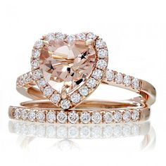 Heart morganite engagement ring diamond halo band rose gold