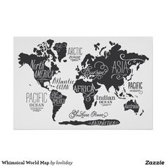 """Whimsical World Map"" - Art Print by Jessie Steury in beautiful frame options and a variety of sizes. World Map Wall Art, World Map Poster, World Maps, World Map Wallpaper, Art Wall Kids, Wall Art Prints, Graphic Art, Photos, Travel Wall"