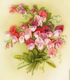 Flower Painting handmade. Sweet pea. Ribbon Embroidery. My Livemaster.Ribbon art