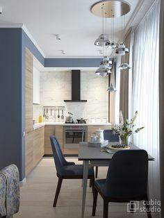 Однокомнатная квартира в современном стиле с классическими акцентами | RoomIdea