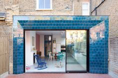 Carnival of colour: harlequin murals, bright walls and bold exterior tiles transformed this Edwardian Hackney house Glazed Brick, Glazed Tiles, Edwardian Architecture, Exterior Tiles, Bright Walls, Side Return, Planning Permission, London House, Blue Tiles