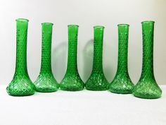 6 Vintage Emerald Green Glass Bud Vases with Diamond Design - Home Decor, Wedding Centerpieces, Depression Glass, by midmowoodworks on Etsy