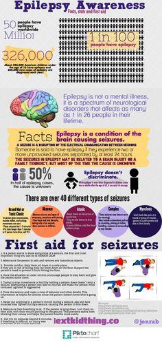 Here's an info graphic on Epilepsy Awareness… Epilepsy Facts, Epilepsy Quotes, Epilepsy Awareness Month, Temporal Lobe Epilepsy, Epilepsy Seizure, Seizure Disorder, Purple Day, Seizures, Neurology