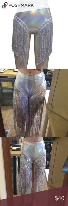 Silver fringe rave bottoms sequin high waisted bra Awesome holographic silver spandex bottoms with sequin fringe you can cut to any length. see comment for size. New, never worn, very stretchy, high cut. Tags: pvc alien unif rave raver edc edm insomniac nasty gal wild fox dollskill disco little black diamond ocean moon iheartraves demonia yru lip service mi gente cyber space festival sexy LBD j valentine metallic discount universe galaxy costume halloween 20's flapper black milk iron fist…