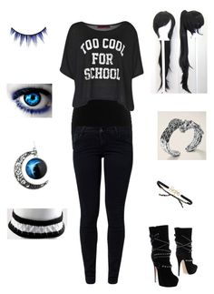 """""""at parent teacher confrences (kill me now)"""" by bandsaremyheartandsoul ❤ liked on Polyvore featuring BKE core, Boohoo, School Rag, Tai, Casadei, MAKE UP FOR EVER and John Hardy"""