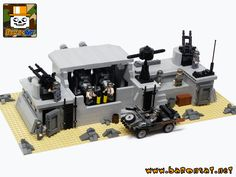 https://flic.kr/p/c9rfoU | Coastal-Defence-Guns-Bunker-02 | My new WW2 custom model : the Coastal Defence German Bunker. Inspired by the Airfix model kit from the 70's/80's. Instructions for this model are available for sale on my website www.baronsat.net And yes, instructions for the schwimmwagen are included.