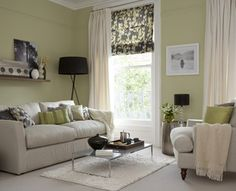 Green living room. Window treatment idea. Layers.