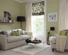 Green living room. Window treatment idea. Layers.