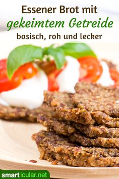 Basic Essener Brot: Basic recipe with sprouted grain - RAW backen recipes bread Roh Vegan, Raw Vegan Recipes, Ceviche, Vitamins, Clean Eating, Food And Drink, Veggies, Low Carb, Tasty