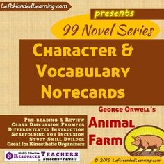 {99 Novel} Series provides support materials to teachers to facilitate superior instruction. Wouldn't it be nice to have notecards already on-hand to provide to INCLUSION students who need them? How about Kinesthetic activities that cross novel borders...things like sorting Character Cards into stacks of Protagonists, Antagonists, Major Characters, Supporting Characters?What about vocabulary?