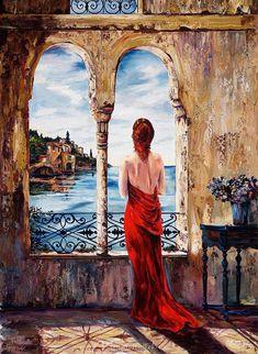 Karen Stene Poster Print Wall Art Print entitled Serene In Red Red Wall Art, Wall Art Prints, Framed Prints, Canvas Prints, Wall Mural, Oil Painting App, Art Graphique, Woman Painting, Portrait Art