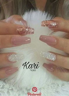 Fancy Nails, Cute Nails, Pretty Nails, Hair And Nails, My Nails, Best Acrylic Nails, Acrylic Nails With Glitter, Glittery Nails, Rose Gold Nails