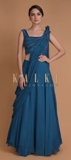 Azure blue plain skirt in georgette. Teamed with a matching silk blouse embellished with cut dana, beads and sequins in striped pattern. Indian Party Wear, Indian Wear, Plain Lehenga, Bridal Makeover, Indian Designer Wear, Anarkali, Salwar Kameez, Indian Outfits, Sequins