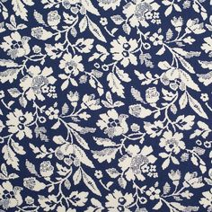 Navy/Antique White Floral Printed Stretch Cotton Poplin Fabric by the Yard | Mood Fabrics