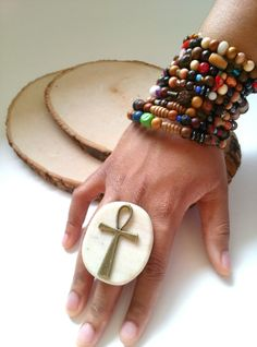 Brass statement ring large Ankh ring stone ring by Absynia on Etsy, $25.00