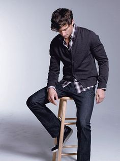 Guys can rock a cardigan too... layer it over your favorite flannel.