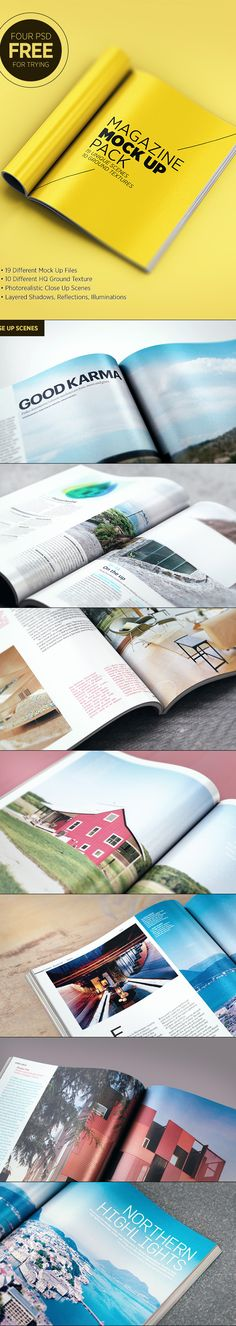 Magazine mock up PSD files. You need Adobe Photoshop CC or higher. Edit in seconds and present your print design in style. Design Visual, Tool Design, Layout Design, Graphic Design Inspiration, Graphic Design Art, Print Design, Magazine Design, Illustrator Design, Brochure Design