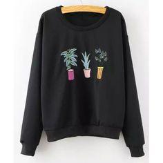 plant sweatshirt| $14.25  kawaii pastel hipster pastel grunge plants fachin pastel goth sweatshirt top under20 under30 rosewholesale