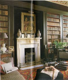 The Brown Library at Baronscourt in CountyTyrone, Ireland. It was decorated by the late interior designer, David Hicks.