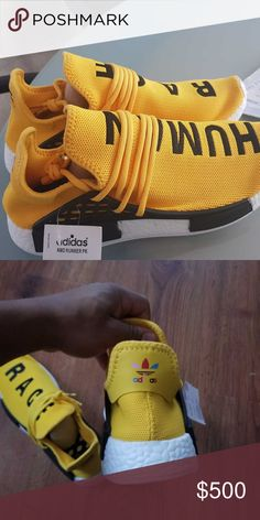 43252770a0d1a Human RACE HU nmd Pharrell Williams Trail Womens Yellow and Black Pharrell  Williams Trail Adidas Shoes