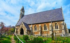 The small yet beautiful parish church of Kingsdown, St John the Evangelist. St John The Evangelist, Mosque, Art And Architecture, Worship, Cathedral, Around The Worlds, Mansions, House Styles, Buildings