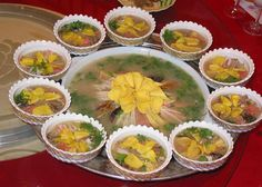 Chinese food - #Luoyang Water Banquet: a Chinese set of dishes comprising 8 cold and 16 warm dishes cooked in various broths, gravies, or juices. It is considered one of the Three Wonders of Luoyang (an ancient city in the Henan province), along with the peony and the Longmen Grottoes.