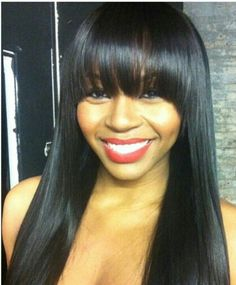 Beautiful belladream hair she makes me want to get bangs and bone straight hair