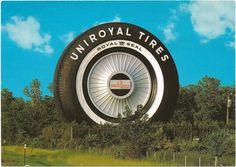 Detroit MI Advertising Postcard Worlds Largest Tire a Uniroyal Goodrich Tire Company