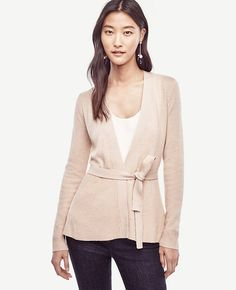 """Worn with or without the belt, our soft wool cashmere cardigan is a refined layer that tops just about anything. Open front. Long sleeves. Self tie belt. Ribbed cuffs. 25 1/2"""" long."""