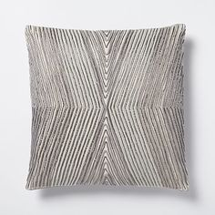 "Beaded Kaleidoscope Pillow Cover - Platinum #westelm Twists and turns. Our Beaded Kaleidoscope Pillow Cover features cording and beading in an intricate, Art Deco-inspired design that's sure to catch the eye.   16""sq. 100% cotton chambray in Platinum. Accommodates a 16""sq. Pillow Insert (sold separately). Button closure. Made in India"