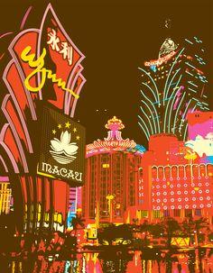 MACAO CASINOS. Illustration of Macao skyline.
