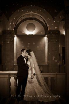Bride and groom pose - sepia efect. W Chicago City Center Hotel. www.remvp.com