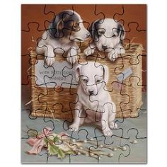 Vintage Love: With Hearty Good Wishes Puzzle: Three little puppy sitting in a straw basket and wish you all the best. A cute Vintage Image. With much love I restored this vintage public domain image of Carl Reichert. Vintage Love, Vintage Images, Puppy Sitting, Three Little, Little Puppies, Public Domain, Puzzles, Wish, Restoration