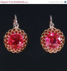 Antique ruby gold drop earrings Victorian Era from adinantiquejewellery