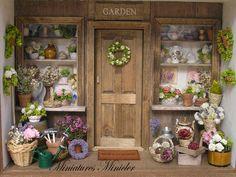 Miniaturas casa de muñecas flor tienda porche, ajustar escala 1:12