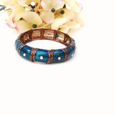 Vintage Enamel Bracelet Aquamarine Link Rhinestone Bracelet Crystal Beaded Metal Findings by WhimzyThyme on Etsy