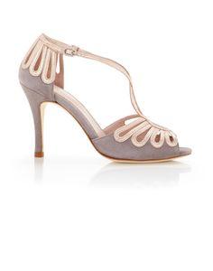 Emmy London Bridal Shoes Leila Cinder- Soft Grey and Rose Gold Wedding Shoes Bridal Sandals, Bridal Shoes, Suede Leather Shoes, Metallic Leather, Bow Shoes, Me Too Shoes, Rose Gold Wedding Shoes, Occasion Shoes, London Shoes