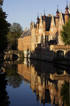 Canal, Bruges    Canal with reflection of buildings and bridge.