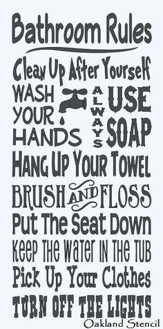 Bathroom Signs Rules primitive sign, bathroom rules, wash, brush, floss, flush, rustic
