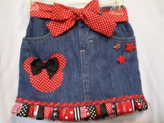 Disney Minnie mouse ribbon deco denim jean by DancingDragonfly, $29.99