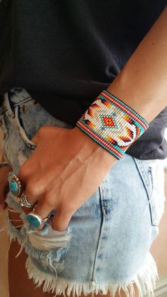Beaded Cuff Bracelet, Bead Loom Bracelets, Cuff Bracelets, Navajo, Turquoise Cuff, Turquoise Jewelry, Country Jewelry, Native Beadwork, Bead Loom Patterns