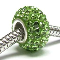 Amazon.com: Queenberry (Free S/H) Sterling Silver Birthstone Round Peridot Green Crystal For Pandora Troll European Bead Charm Bracelets August: Jewelry