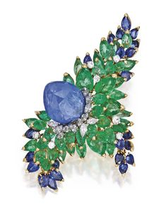 18 KARAT GOLD, PLATINUM, SAPPHIRE, EMERALD AND DIAMOND BROOCH, MARCHAK, PARIS,signed Marchak Paris, with French assay and workshop marks; circa 1960.