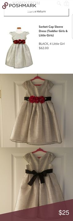 Girls Sorbet Dress Black and white striped dress with red rosettes. Only worn a couple of times, no stains. Sorbet Dresses Formal