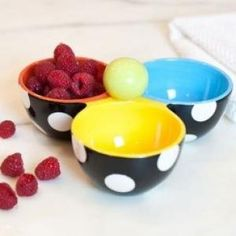 The striking black dot pattern and bold shades make this bowl colorful and classic. A versatile multi-tasker, the Trio Bowl serves jams, jellies, nuts, snacks, dips, relishes and more.