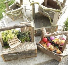 Handmade trugs for a Miniature Garden To-Go. See our other goodies:  http://www.etsy.com/shop/Janit
