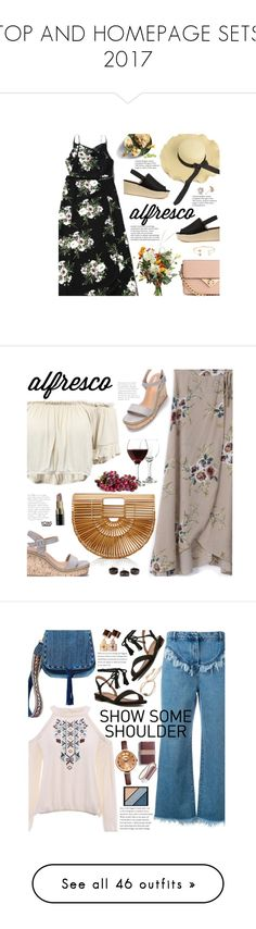 """TOP AND HOMEPAGE SETS 2017"" by beebeely-look ❤ liked on Polyvore featuring brunch, floraldress, zaful, alfrescodining, brunchgoals, Libbey, Cult Gaia, NOVICA, Bobbi Brown Cosmetics and summersandals"