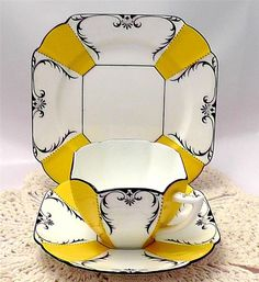 This stunning SHELLEY QUEEN ANNE 1927 Art Deco Tea TRIO (in sunny buttercup yellow) is getting a lot of attention on eBay. Bids end on Tuesday at http://www.ebay.co.uk/itm/271559406322
