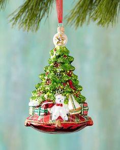 H8GE3 Christmas Tree with Bear Christmas Ornament